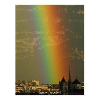 Carte Postale arc-en-ciel au-dessus de Genève