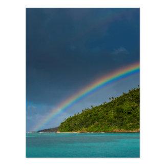 Carte Postale Arc-en-ciel au-dessus d'île, Samoa américaines