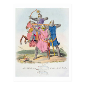 Carte Postale Archers et un arbalétrier, 1312, 'd'AR antique