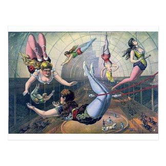 Carte Postale Arène vintage de chevaux de trapèze de CIRQUE