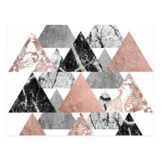 Carte Postale Argent rose d'or de marbre et triangles florales