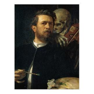 Carte Postale Arnold Böcklin - autoportrait avec la mort