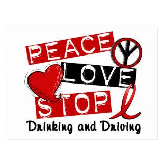Carte Postale Arrêt d'amour de paix buvant et conduisant
