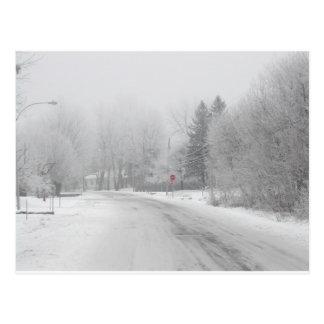 Carte Postale Arrêt rouge d'hiver blanc