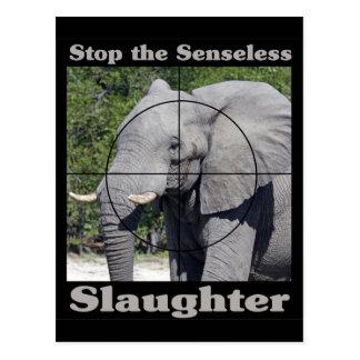Carte Postale Arrêtez l'Abattage-Éléphant