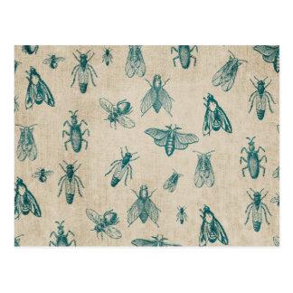 Carte Postale Arrière - plan de motif d'insectes d'insecte