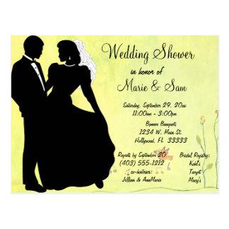 Carte Postale Arrière - plan de ressort de jeunes mariés de