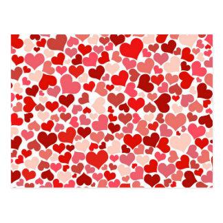 Carte Postale Arrière - plan rouge mignon de coeurs