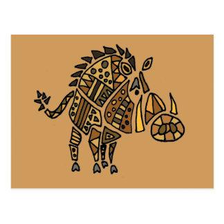 Carte Postale Art abstrait artistique drôle de Warthog