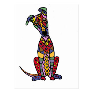 Carte Postale Art abstrait de chien Artsy drôle de lévrier
