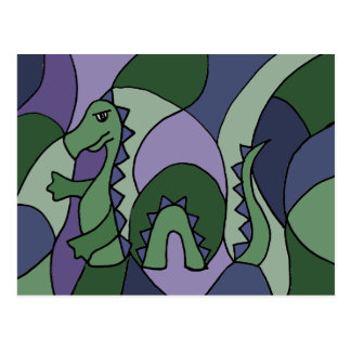 Carte Postale Art abstrait de monstre drôle de Loch Ness