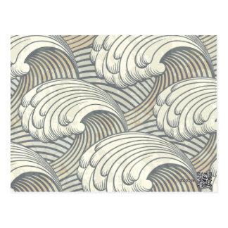 Carte Postale Art antique du Japon de motif de ressacs