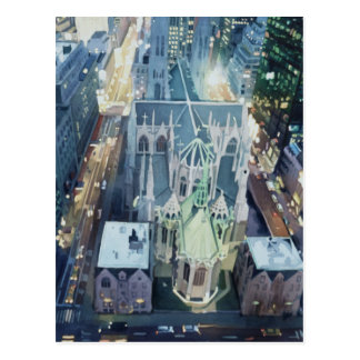 "Carte Postale Art d'aquarelle ""de veilleuses de New York"""