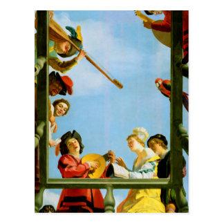 Carte Postale Art de balcon de groupe musical de Gerrit Van