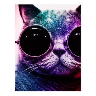 Carte Postale Art de bruit de chat de hippie
