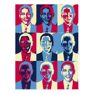 Carte Postale Art de bruit rouge, blanc et bleu d'Obama