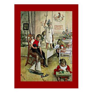Carte Postale Art de Carl Larsson : Matin de Noël
