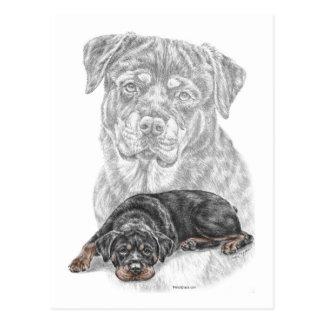 Carte Postale Art de chien de rottweiler