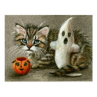 Carte Postale Art de citrouille de fantôme de chaton de chat de