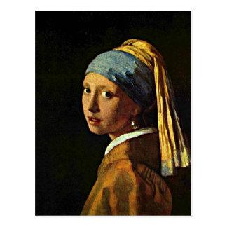Carte Postale Art de Johannes Vermeer - fille avec une boucle
