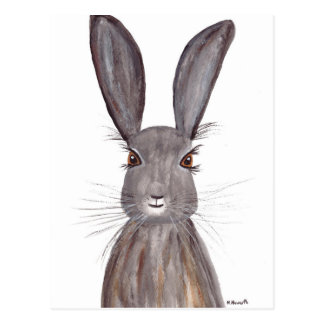 Carte Postale Art de lapin d'aquarelle de lièvres