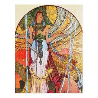 Carte Postale Art de paon d'Alphonse Mucha