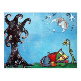 Carte Postale Art de petit somme de chat