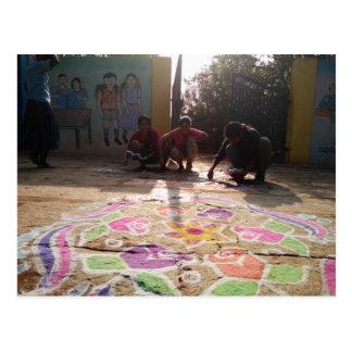 Carte Postale Art de Rangoli de matin à la crinière de Baale !