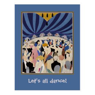 Carte Postale Art déco d'âge de jazz dansant l'art de salle de
