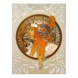 Carte Postale Art déco d'Alphonse Mucha