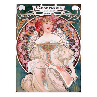 Carte Postale Art déco de dame de robe de rose de Mucha