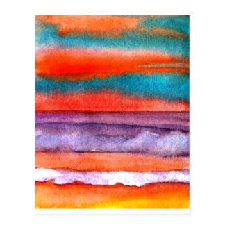 Carte Postale Art doux de ressacs de coucher du soleil de plage
