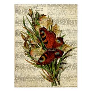 Carte Postale Art floral de papillon à la page vintage de