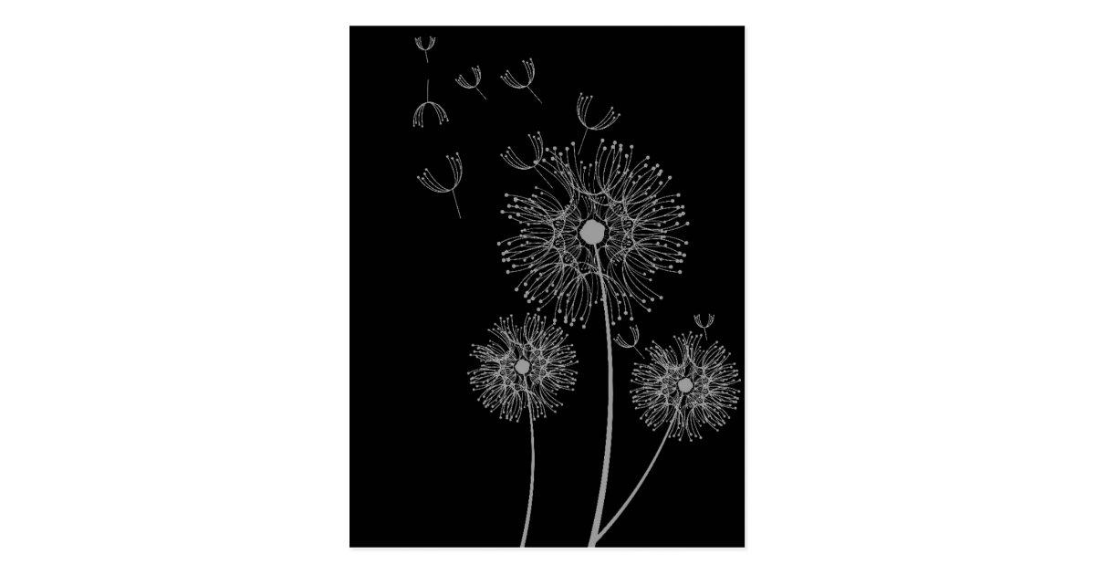 carte postale art floral moderne noir et blanc de pissenlit. Black Bedroom Furniture Sets. Home Design Ideas