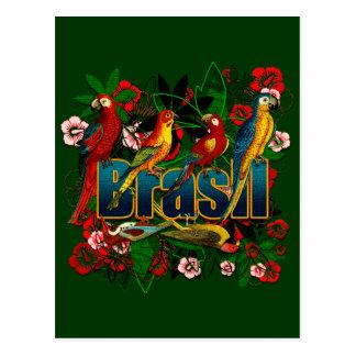 Carte Postale Art floral tropical d'oiseaux de forêt tropicale