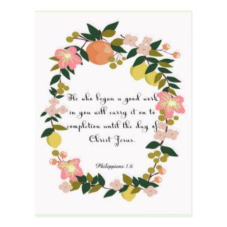 Carte Postale Art inspiré chrétien - 1:6 de Philippiens