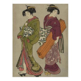 Carte Postale Art japonais vintage de geisha et d'employé
