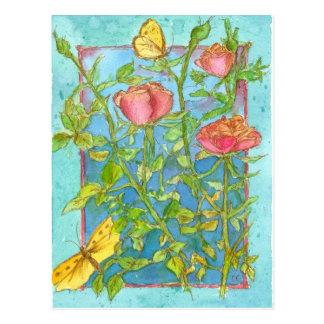 Carte Postale Art jaune d'aquarelle de jardin de papillon de