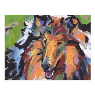 Carte Postale Art lumineux de chien de bruit de colley rugueux