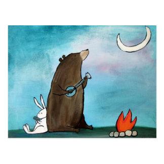 Carte Postale Art lunatique campant de livre de contes d'ours