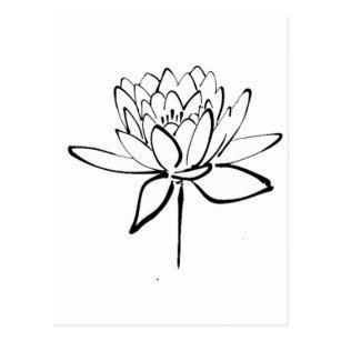 Carte Postale Art Noir Et Blanc De Dessin Dencre De Fleur De