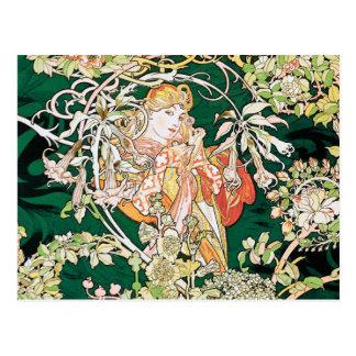 Carte Postale Art Nouveau de Mucha : Femme avec la marguerite