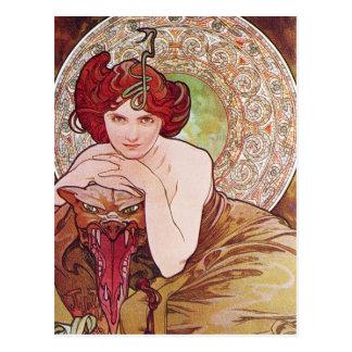 Carte Postale Art Nouveau de serpent