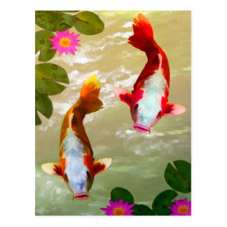 Carte Postale Art numérique asiatique de carpe de poissons de
