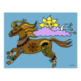 Carte Postale Art populaire d'Ukrainien de poney de ciel