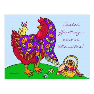 Carte Postale Art populaire ukrainien de poule de Pâques par