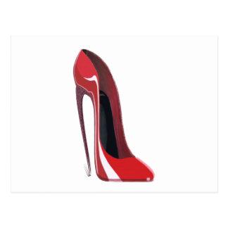 Carte Postale Art stylet de chaussure de talon fou rouge
