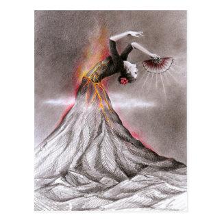 Carte Postale Art surréaliste de crayon de volcan de femme de