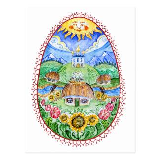 Carte Postale Art ukrainien d'aquarelle de Pysanka