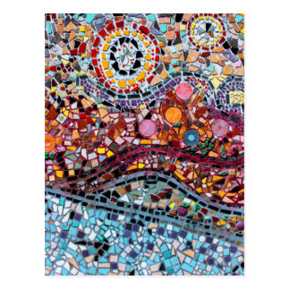 Carte Postale Art vibrant de mur de mosaïque